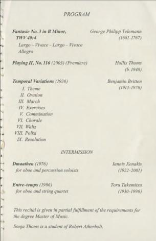 Masters Recital Program pg 2